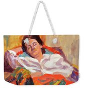 Woman Sleeping Weekender Tote Bag