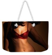 Woman Standing In Light Coming Through A Window Weekender Tote Bag