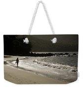 Woman Walking On A Deserted Beach Weekender Tote Bag