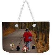 Woman Walks Her Army Of Dogs Dressed Weekender Tote Bag
