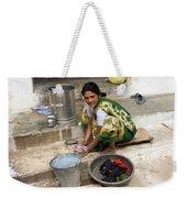 Woman Washing Clothes In Khajuraho Village Weekender Tote Bag