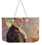 Woman Wearing A Green Headscarf Weekender Tote Bag