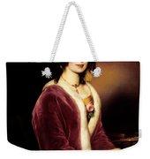 Woman Wearing A Velvet Pelisse  Weekender Tote Bag
