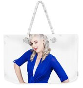 Woman Winking Eye In Lashes. Retro Makeup Style Weekender Tote Bag