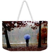 Woman With A Blue Umbrella Weekender Tote Bag