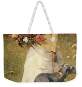 Woman With A Dog Weekender Tote Bag