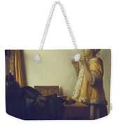 Woman With A Pearl Necklace Weekender Tote Bag