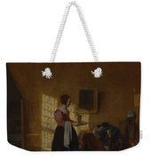 Woman With A Water Pitcher And A Man By A Bed The Maidservant Weekender Tote Bag
