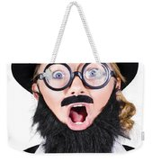 Woman With Fake Beard And Mustache Screaming Weekender Tote Bag