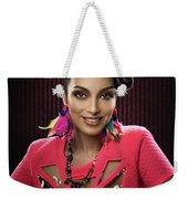 Woman With Floral Headdress In Pink Dress Weekender Tote Bag