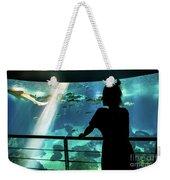 Woman With Leopard Shark Weekender Tote Bag