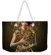 Woman With Messy Curl Updo In Golden Attire Weekender Tote Bag