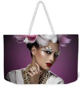 Woman With Pink And White Headpiece In White Dress Weekender Tote Bag