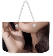 Woman With Red Lipstick Closeup Of Sensual Mouth Weekender Tote Bag