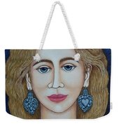 Woman With Silver Earrings Weekender Tote Bag