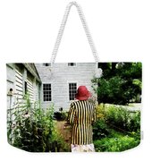 Woman With Striped Jacket And Flowered Skirt Weekender Tote Bag