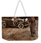 Woman With Umbrella By Vintage Car Weekender Tote Bag by Jill Battaglia
