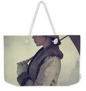 Woman With Vintage Cloche Hat Overcoat And Umbrella In Rain Weekender Tote Bag