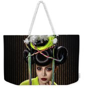 Woman With Yellow Dress With Feather And Leaf Headdress Weekender Tote Bag