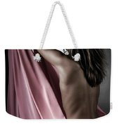 Woman Wrapped In Pink Reaching The Light Weekender Tote Bag