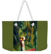 Women In A Park With A White Parasol Weekender Tote Bag