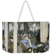 Women On A Cafe Terrace Weekender Tote Bag by Edgar Degas