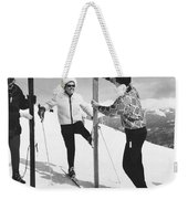 Women Waxing Skis Weekender Tote Bag