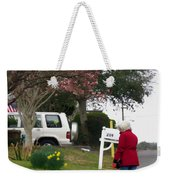 Women With Her Dog Weekender Tote Bag