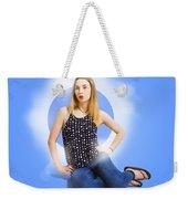Womens Fashion Pinup Model On Blue Studio Lights Weekender Tote Bag