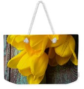 Wonderful Yellow Tulips With Dew Weekender Tote Bag