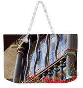 Wood Beams Red Flowers And Blue Window Weekender Tote Bag