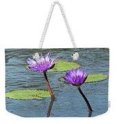 Wood Enhanced Water Lilies Weekender Tote Bag