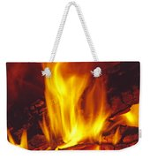 Wood Stove - Blazing Log Fire Weekender Tote Bag