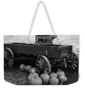 Wood Wagon And Pumpkins Black And White Weekender Tote Bag
