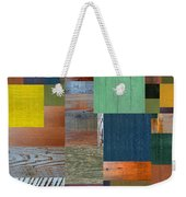 Wood With Teal And Yellow Weekender Tote Bag