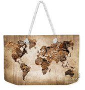 Wood World Map Weekender Tote Bag by Delphimages Photo Creations