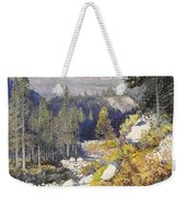 Wooded Landscape With A Path And A Mountain Beyond Weekender Tote Bag