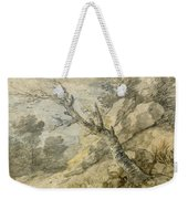 Wooded Landscape With Rocks And Tree Stump Weekender Tote Bag