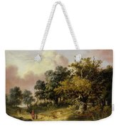 Wooded Landscape With Woman And Child Walking Down A Road  Weekender Tote Bag