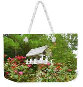 Wooden Bird House On A Pole 3 Weekender Tote Bag