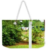 Wooden Bird House On A Pole 6 Weekender Tote Bag