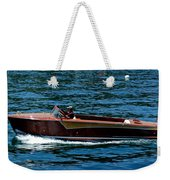 Wooden Boat Waves On Tahoe Weekender Tote Bag