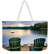 Wooden Chairs At Sunset On Beach Weekender Tote Bag