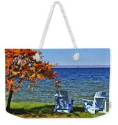 Wooden Chairs On Autumn Lake Weekender Tote Bag