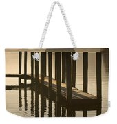 Wooden Dock In The Lake At Sunset Weekender Tote Bag