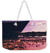 Wooden Fishing Thai Boat Sunken On The Rocky Beach During Tide Weekender Tote Bag
