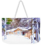 Wooden House In Winter Forest Weekender Tote Bag