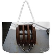 Wooden Line Block Off Tall Ship Weekender Tote Bag