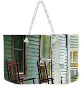 Wooden Rocking Chairs On Porch Weekender Tote Bag