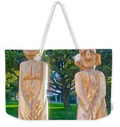 Wooden Sculptures In Central Park In Bariloche-argentina Weekender Tote Bag